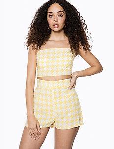 Woven Shorts - casual shorts - yellow pepita print