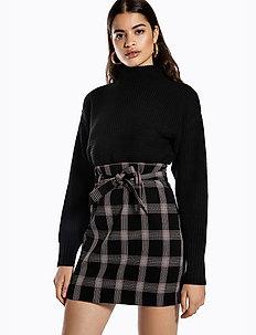 CHECK HIGH BELTED SKIRT - jupes courtes - black check