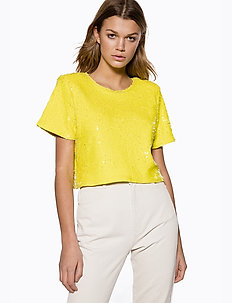 Sequin Tshirt - crop tops - yellow