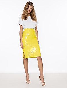 Sequin Split Skirt - jupes midi - yellow