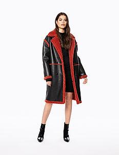 TEDDY COAT - manteaux - black/burnt red