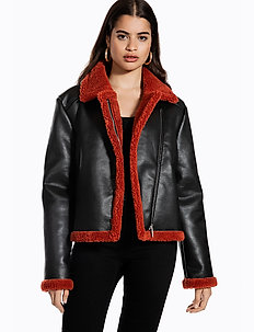 TEDDY JACKET - vestes en cuir - black/burnt red