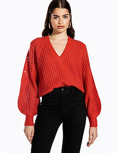 POINTELLE SLEEVE KNIT - pulls - burnt red
