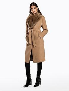 FAUX FUR COLLAR COAT - manteaux de laine - beige