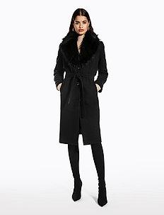 FAUX FUR COLLAR COAT - manteaux de laine - black