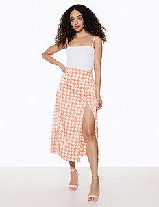 Split Skirt - jupes midi - orange pepita print