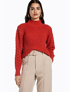 HIGH COLLAR POINTELLE KNIT - pulls col roulé - burnt red