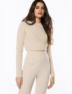CROPPED FUZZY KNIT - pulls - natural