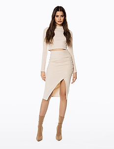 JERSEY SLIT SKIRT - jupes midi - natural