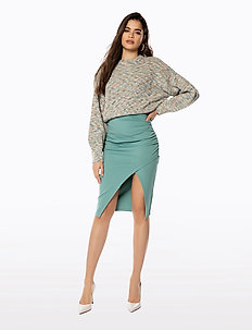 JERSEY SLIT SKIRT - jupes midi - teal
