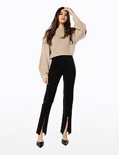 FRONT SLIT PANTS - pantalons droits - black