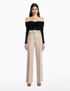 BELTED SUIT PANTS - pantalons droits - beige