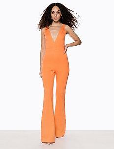 V Neck Flared Jumpsuit - combinaisons - orange