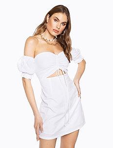 DRAWSTRING PUFF SLEEVE DRESS - kort kjoler - cold white