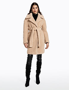 BELTED TEDDY COAT - manteaux de laine - beige