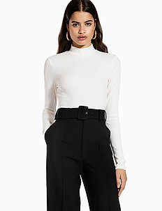 LONG SLEEVE RIB TOP - crop tops - off white