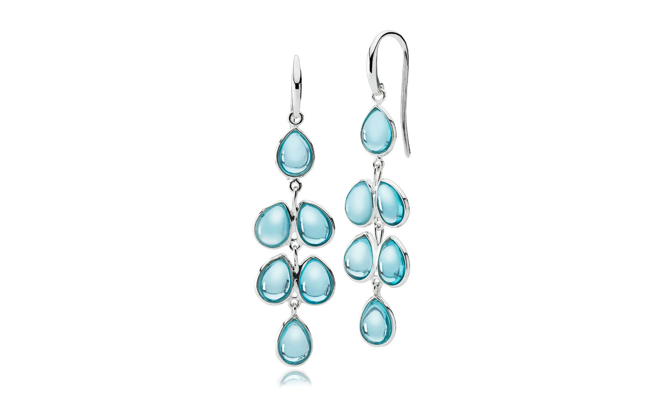 Izabel Camille AnnaBella Large Earring - SHINY SILVER, AQUA