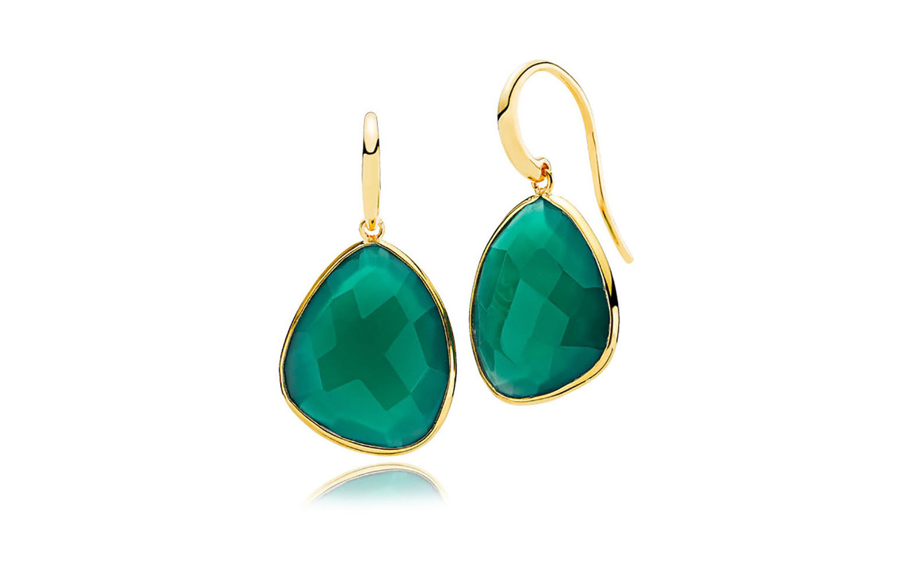 Izabel Camille Orient Earrings - SHINY GOLD, GREEN
