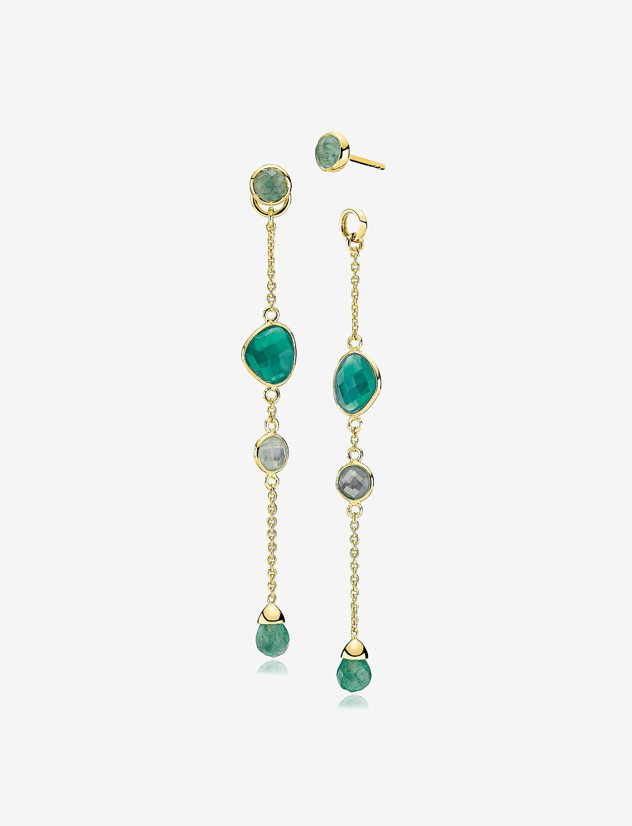 Izabel Camille - Orient Earstuds - statement earrings - shiny gold, green - 0