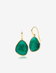 Orient Earrings - pendant earrings - shiny gold, green