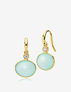 Candy Earrings - pendant - shiny golde, aqua