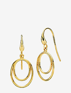 Universe - statement earrings - shiny gold