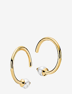 Miss Pearl - hoops - shiny gold, white