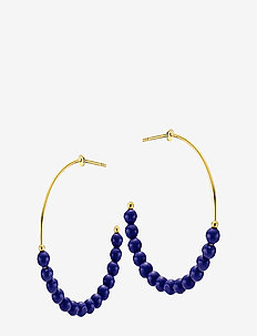 Miss Pearl - hoops - shiny gold, blue