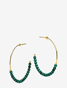 Miss Pearl - hoops - shiny gold, green