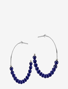 Miss Pearl - hoops - shiny silver, blue