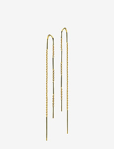 Rainfall - pendant earrings - shiny gold