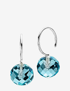 Marble - hängande örhängen - rhodium plated sterling silver, aqua