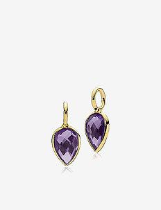 Dewdrop pendants-2 pieces - hangers - shiny gold - purple