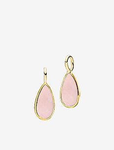 Gemdrop pendants-2 pieces - hangers - shiny gold - pink