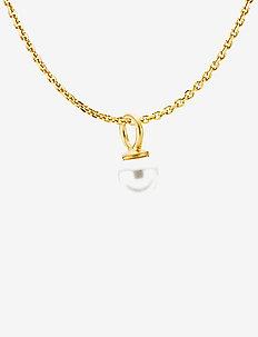Pearly Necklace - elegante halskettingen - satinated gold, white