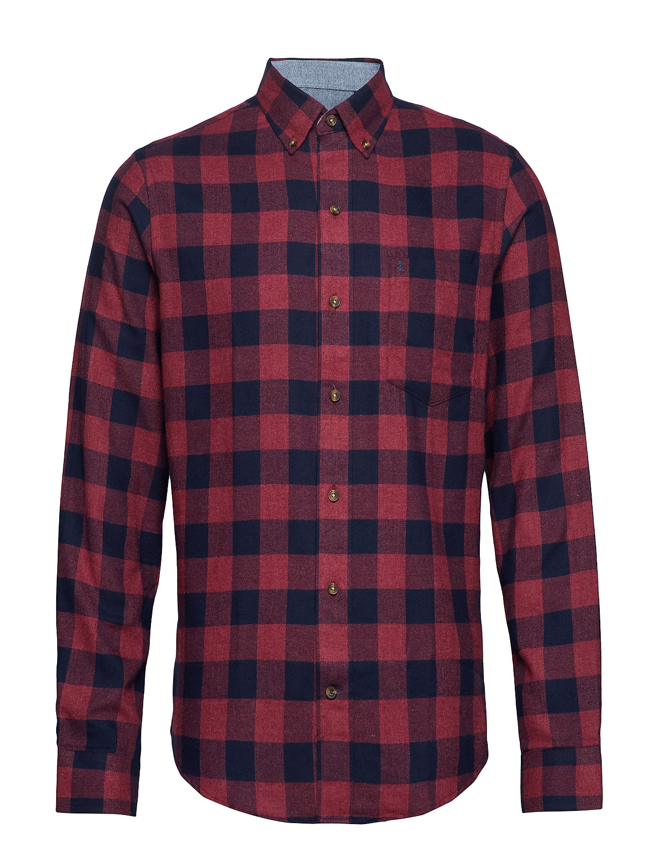 IZOD FLANNEL PLAID BD SHIRT - BIKING RED HTR