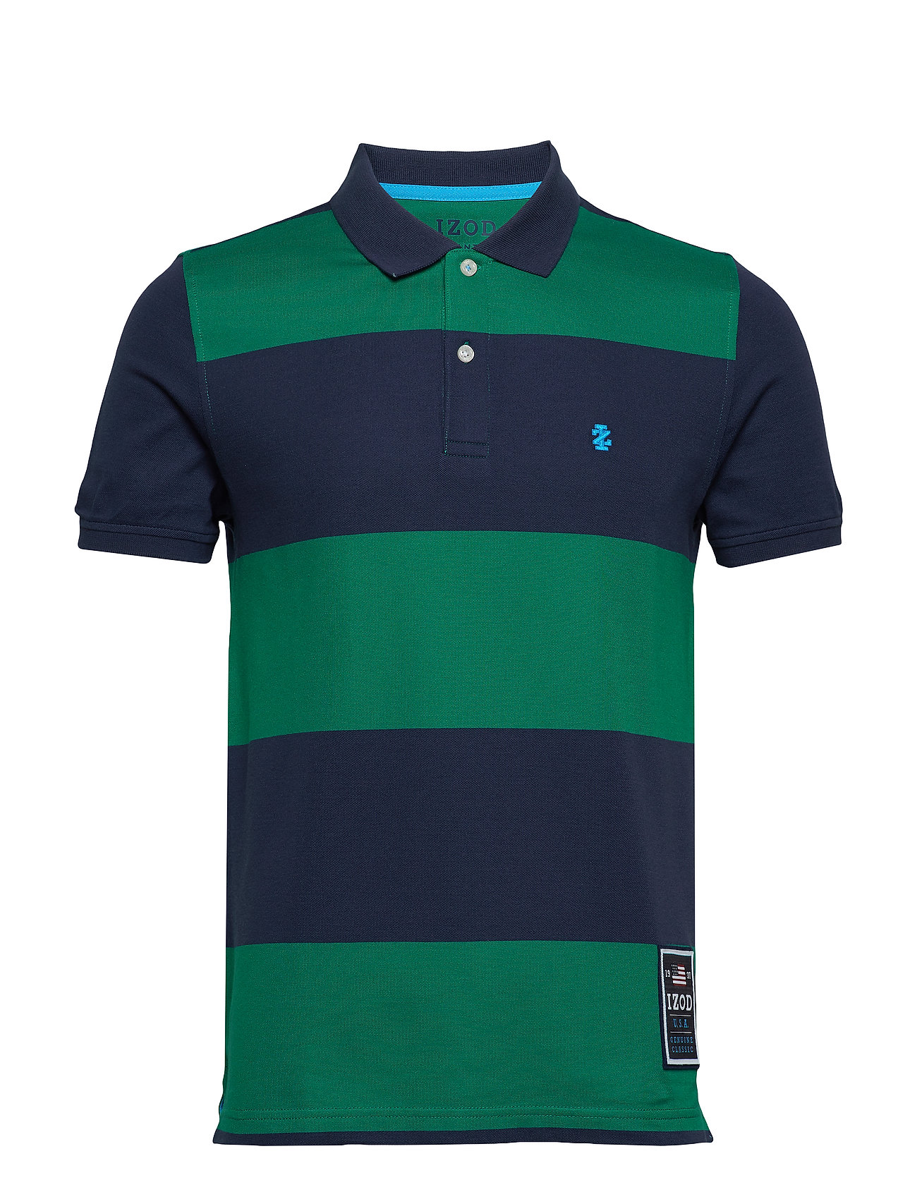 IZOD RUGBY STRIPE PERFORMANCE POLO - EVERGREEN