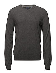 12GG V-NECK SWEATER - CARBON HEATHER