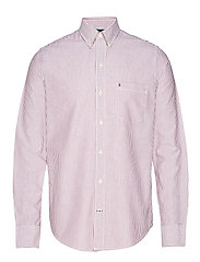 OXFORD DOBBY STRIPE BD SHIRT - BIKING RED