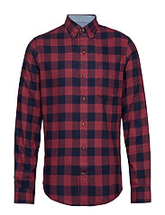 FLANNEL PLAID BD SHIRT - BIKING RED HTR