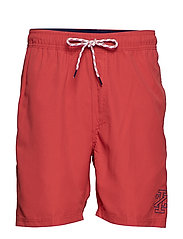 SOLID SWIM TRUNK - SALTWATER RED