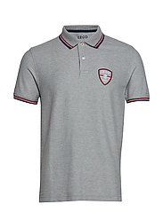 SHIELD PATCH PERFORMANCE POLO - LT GREY HTR