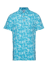 DOCKSIDE PARROT PRINT POLO - CANEEL BAY