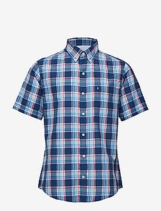 SEERSUCKER PLAID BD SS SHIRT - ESTATE BLUE