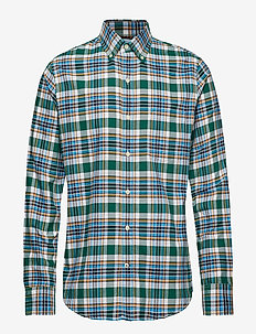 WASHED OXFORD PLAID BD SHIRT - EVERGREEN