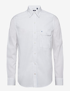 WASHED STRETCH HIDDEN BD SHIRT - BRIGHT WHITE