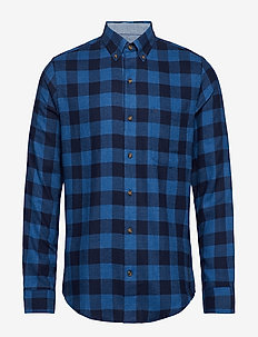 FLANNEL PLAID BD SHIRT - CADET NAVY