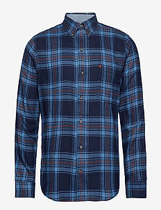 FLANNEL PLAID BD SHIRT - PEACOAT