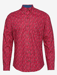 SURF SANTA PRINT BD SHIRT - REAL RED