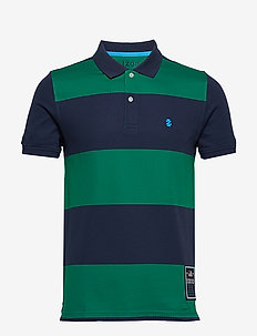 RUGBY STRIPE PERFORMANCE POLO - EVERGREEN